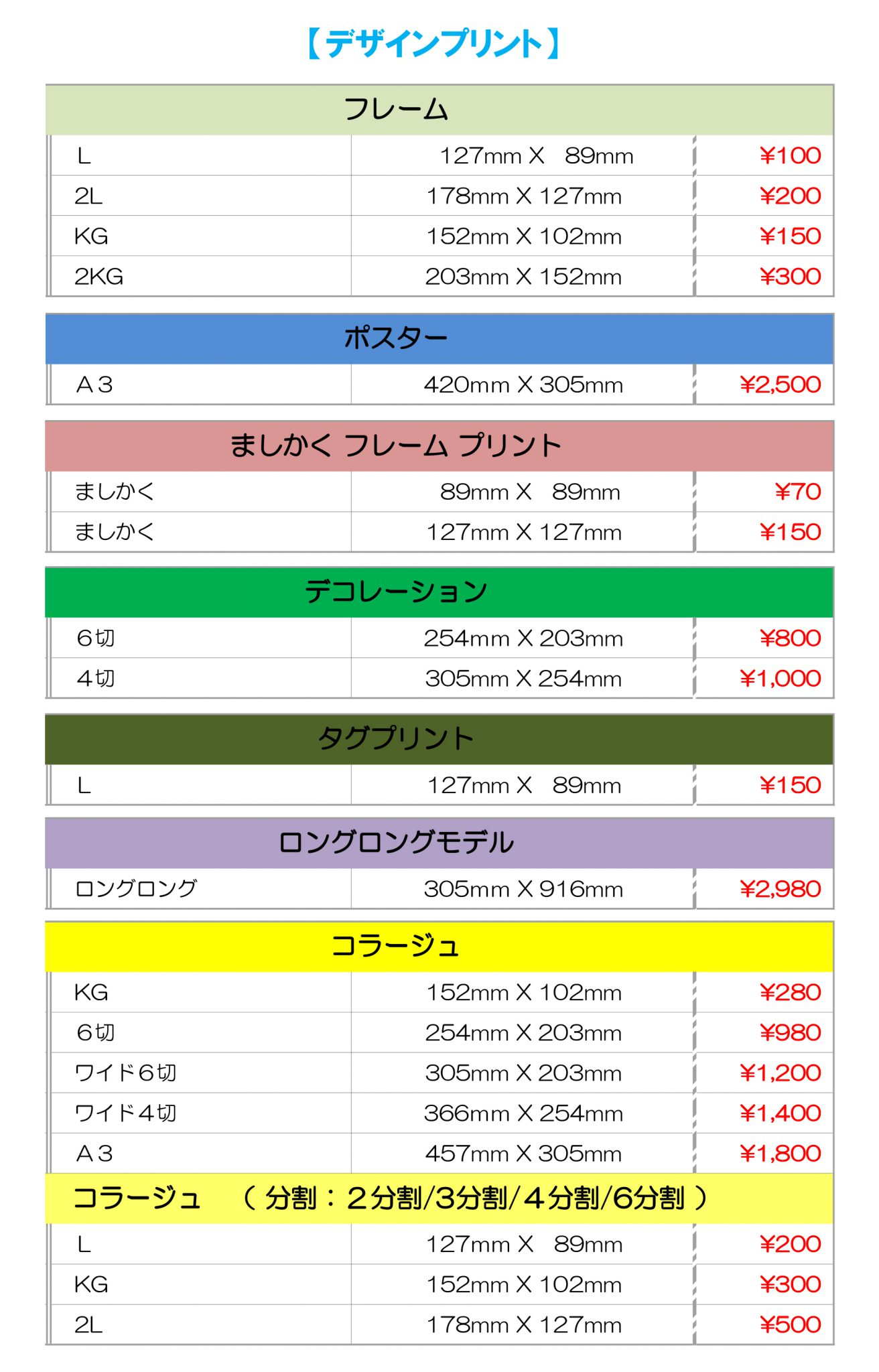 コラージュやポスターのデザインプリント価格